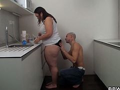 Filthy BBW drilled in the kitchen as she enjoys getting messy with this young cock deep inside her greasy holes before the camera.