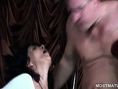 Mature hookers licking man ass and sucking cocks at orgy