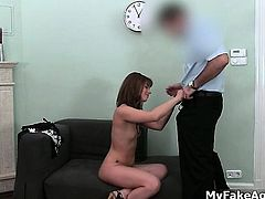 Sexy brunette babe gets horny showing part1