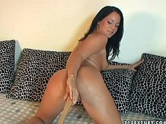 Seductive brunette is rather pretty and hot. Tanned booty chick seeks for pleasure. This awesome hottie desires to pose naked on cam. Spoiled cutie with natural tits loves polishing her pussy with a dildo and stimulates it with a baseball bat.