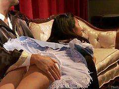 A bad girl like her deserves some ass spanking. At first the priest slaps her ass slowly, but then it gets harder and harder. Let's leave this hot ass chick and see how the other whore handles a deep pussy fuck and a few slaps. Her vagina is drilled deeply and then cum filled. Yeah, look at that jizz dripping out.