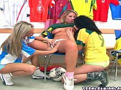 Locker room lesbians strip down their football jerseys and start playing with their big tits and tight pink pussies till a deep orgasm!