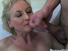 This busty mature blonde milf hates messy kitchen and when she come back home and find her kitchen in mess, she goes to her young boy room and finds him all naked which turns her on.Enjoy this busty big ass mature mom getting her sweet anal hole banged hard on the bed.