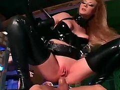 Sexy redhead getting fucked in shiny latex  Audrey Hollander 1