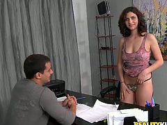 Ardent short haired brunette MILF arrives to job interview wearing nothing but a lingerie set. So she climbs on the desk and lies with legs wide open letting a surprised dude stroke her punani while she gives his strain dick a blowjob.