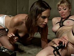 Adrianna Nicole and Amber Rayne are having some good time together. The brunette ties the blonde up, attaches wires to her snatch and then stuffs her ass and cunt with toys.