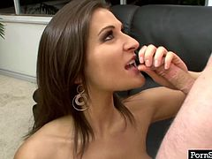 Bosomy brunette stands on her knees and gives blowjob. She jerks off dick and sucks it like greedy for cum. Watch insatiable sucking head for free.