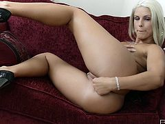 Blanche Bradburry lays on the couch and shows off her beautiful body. She takes off her pink panties and masturbates for us. She moans as she pleasures herself. Watch as she rubs her boobs and fingers her cunt.