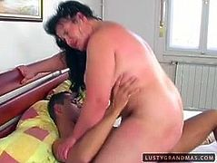 Immense brunette BBW rides stiff cock reverse cowgirl style while getting her oversized baggy tits mauled before switching to cowgirl and missionary poses in sultry sex video by 21 Sextury.