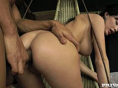 Petite brunette girl gets her ass fingered and pussy toyed by her masseur. After that she takes big black cock in her tight ass as she likes.