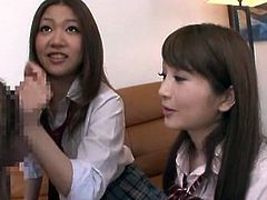 Beautiful Japanese School Girls Giving a Hot Blowjob