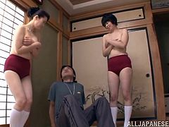Two Asian MILFs take their clothes off during the training. They suck a dick with great pleasure in POV scenes.