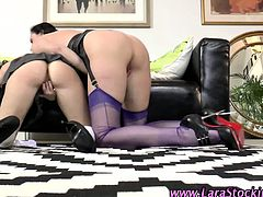 Hot brits in stockings eat pussy