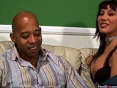 Spoiled Latin overaged slut in raunchy lingerie and black stockings lures an inexperienced black wanker. She forces him to take off his pants before she inclines to his massive cock to give a head bofore she gets her nasty pussy tongue fucked.