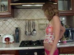 Pretty short haired chick Celeste is stripping and playing with herself in the kitchen. Cum and watch this hot solo scene and enjoy!