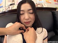 This Japanese teacher has found out one of her student's fathers runs a modelling agency. She goes over to see him and he is impressed, but he needs to see more. She opens her top to show off her big fat tits and lets him play with them.