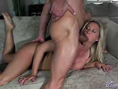 Busty milf is a true master when it comes to stimulating cock in oral session
