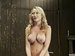 The busty beauty Madison Scott is getting toyed for an orgasm as she's bounded in this bondage porn video.