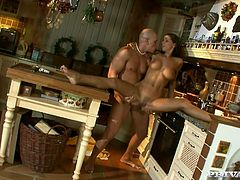 Hot brunette girl hands around the kitchen after taking a shower. After some time she gives a blowjob to her man and gets her tight pussy fucked hard in different poses.