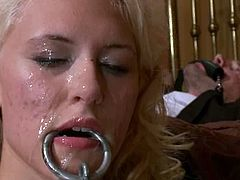 Sweet blonde babe gets seized by guys in masks. They tie her up and take the dress off. After that this poor girl gets fucked rough in her pussy and ass.