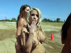 Excellent pornstars in the funny outdoor scene