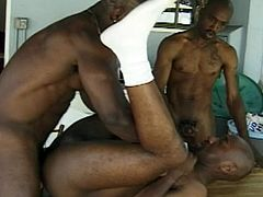BAM - BAM! Three hot ebony studs jam packed with muscle get into a hardcore threesome, with the man in the middle sucking black dick and getting his asshole fucked and filled with semen!