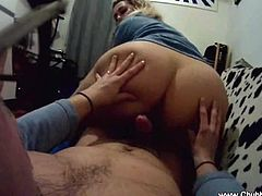This busty Italian wife turns her husband on with a blowjob every time. Then, she rides her husbands stiff dick.