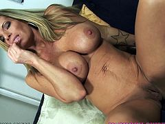 Blonde milf with big tits sucks cock and enjoys warm load splashing her naughty face