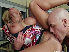 Hot and arousing blonde milf with an amazing body, firm medium sized boobs and hot ass enjoys in getting her slit stretched and rammed all over the house by tattooed and aroused Derrick Pierce