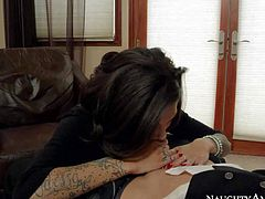 One of a kind tattooed black haired bitch Bonnie Rotten with big fake tits and tight sweet ass in red undies teases Bruce Venture and gets rammed hard to loud orgasm