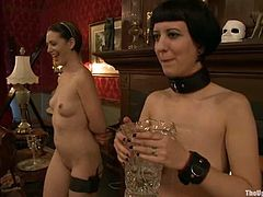 Cherry Torn and Sarah Shevon do some hot stuff for their master. They lick each others pussies and drill their pussies with strap-on.