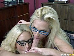 Smoking hot lusty blonde secretaries Summer Brielle and Alena Croft wtih sexy glasses and huge jaw dropping fake balloons in sexy underwear get on knees and suck muscled Johnny Sins