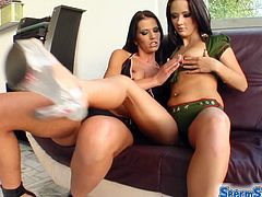 See two hot brunettes getting pounded by one lucky stud. These bitches also squeeze some lesbian games into the fun before eating cum.