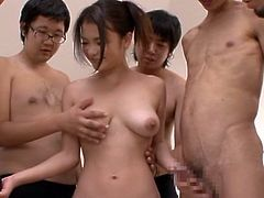 This juicy and super naughty babe Kana Tsuruta is so fucking amazing! She gives a nice and equal blowjob to all her fuckers at a time and then tehy bangs her!