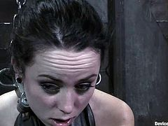 Slim brunette girl with a ball gag in her mouth gets tied up. Later on she gets her wet pussy toyed in close-up scenes.