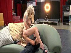 Slutty blond mature with slack tattooed body seduces young inexperienced dude. She gives him face sitting before she mouth fucks his sturdy cock, which later pokes her missionary.