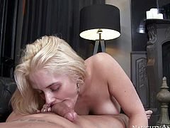 Sexy ass and pretty arousing blonde honey Sarah Vandella enjoys in sucking and riding a hard stick on the bed in all possible poses in a pov video