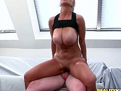 Kinky light haired girlie is a horny fitness coach. This torrid girlie has so big boobs, that my mouth waters. Amazing sexy curvy and booty gal is fond of being fucked from behind and desires to ride a dick right in the gym hall.