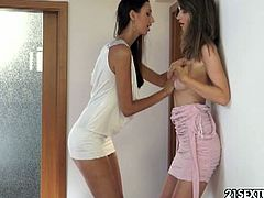 See the naughty brunette belles Kitty and Sharolta learning to touch each other in a different way. It doesn't take long before they munch and lick their shaved slits into breathtaking lesbian orgasms.