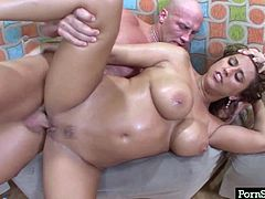 Well, this brunette is the owner of huge boobs, which are more than perfect for a tender titjob. Zealous cutie with rounded big ass and sweet huge boobs is fond of mish, tough drilling of her wet pussy from behind and riding a stiff dick. Isn't she a versatile whore?