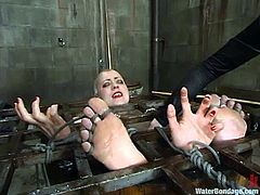 Lewd blonde Lorelei Lee is having fun with a sexy mistress in a basement. She lets the dominatrix bind her and then undergoes some tortures and humiliation.