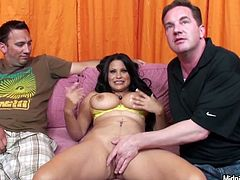 Astonishing busty brunette Sophia Lomeli bows above the strong dick for blowjob