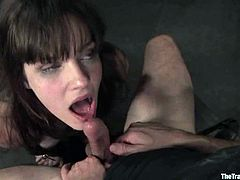 Naughty brunette girl gets her ass and pussy fingered at the same time. After that she also sucks a cock and gets fucked hard in a bedroom.