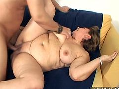 Voracious chubby mom with big natural boobs is penetrated in her wet clam in a missionary position. Horny stud bangs her cunt bad so she moans wild with pleasure.