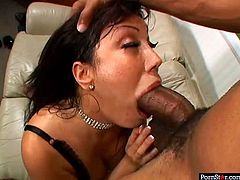 Hot blooded overaged Latin prostitute in raunchy lingerie and stockings still has some hot stuff to show you. She clings to massive black cock to give a blowjob before she rides it with her ruined anal hole in close up sex clip by Pornstar.