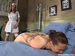 Jessica Sexin gets her vagina toyed and ass spanked by Roxetta. After that she gets tied up and pounded with a strap-on. In addition she licks nurse's pussy with pleasure.