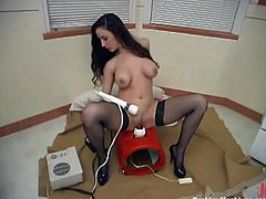 Salacious brunette Jewell Marceau wearing stockings moves her legs wide open and takes the sex machine's attachment into her vag. The device moves back adn forth in Jewell's vag and she enjoys it a lot.