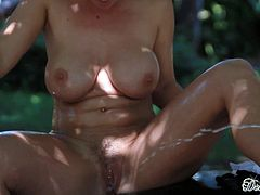 Insolent gals are very horny to play with their pussies in sexy outdoor masturbation scene