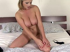 A dirty and horny babe gets naked for the camera and fucking sticks a hard toy in her pink pussy, check it out right here!