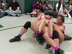 Hot chicks have a rough battle on a ring. After that they start to lick and finger eacho others pussies with great pleasure.